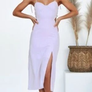 NWT lilac Linen cut out dress